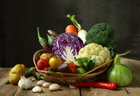 Still life harvested vegetables agricultural  on wooden  photo