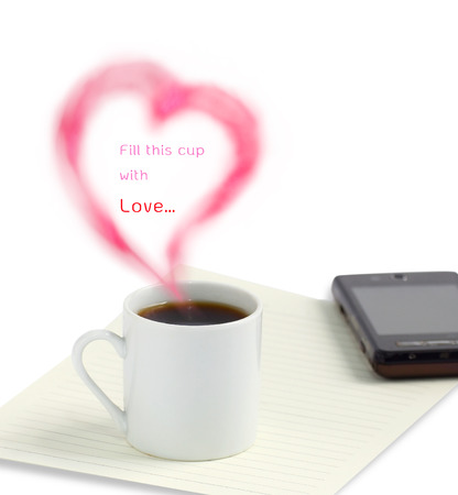 ramantic: Coffee cup with love heart sign on white background Stock Photo