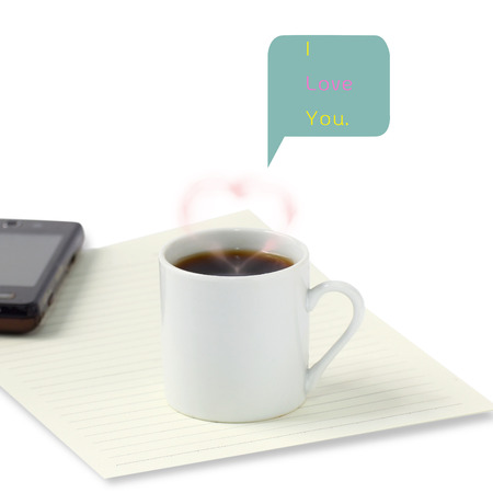 ramantic: I love you text and hot coffee cup Stock Photo