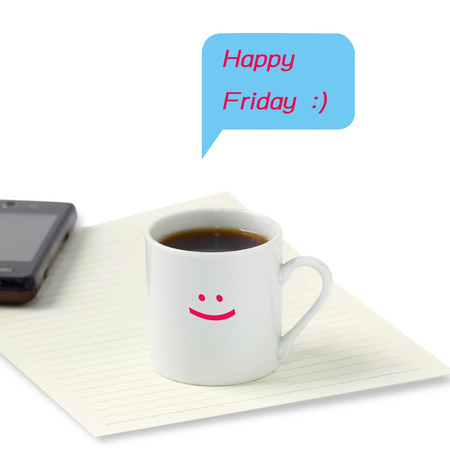Happy  Friday smile on blank paper and coffee cup Stock Photo
