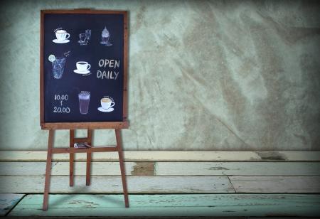 daily room: Open daily coffee shop blackboard in green coffee room