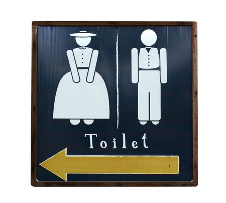 Vintage  restroom of men and women on grunge wood background  photo