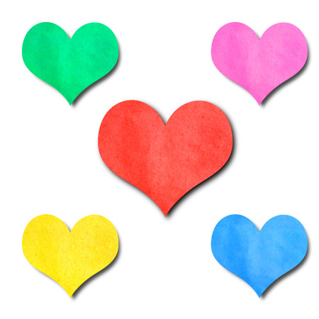 colorfl paper hearts shape isolated on white photo