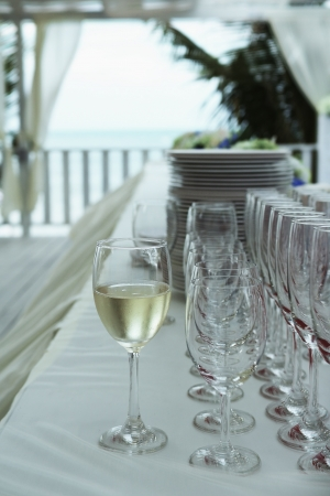 Wine glass setting for wedding party in vintage style photo