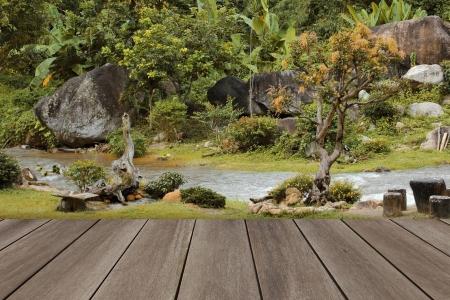 autum: Autum landscape with wooden floor Stock Photo