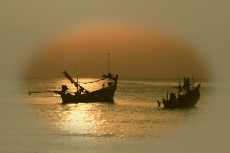 Stunning golden sunset over sea and sky in vintage style,selective focus Stock Photo - 25603755