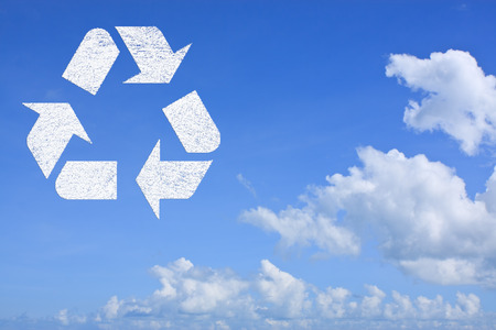 Icon recycle symbol on blue sky  background photo