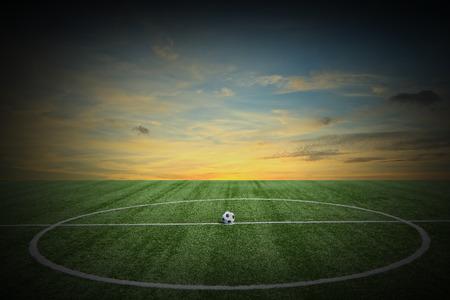Soccer green grass field at sunset photo