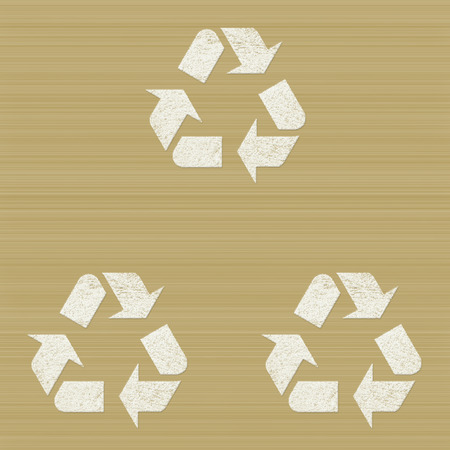Icon recycle symbol on wood  background photo