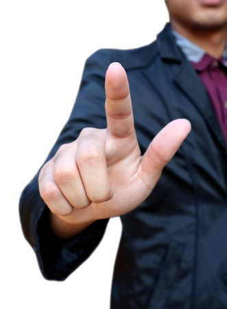 Business man pointing finger isolated photo