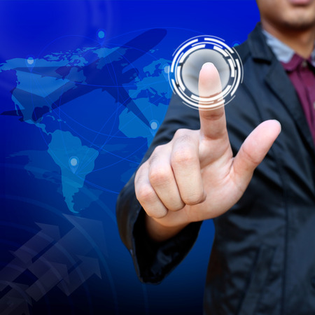 Business man pushing creative button , transportations and logistics concept photo