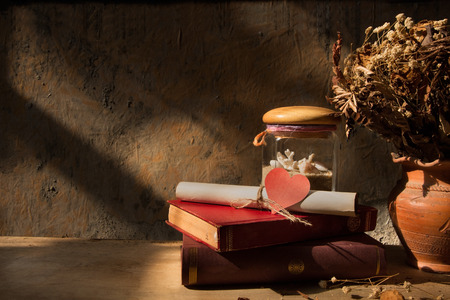 Still life with old book, shell and dried roses in clay vase with grunge background photo