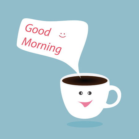 Hot coffee cup and good morning bubble,vector design Vector