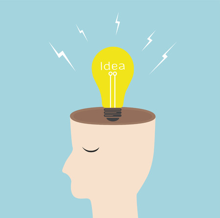 Creative idea head bright light bulb,vector successful concept Vector