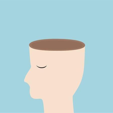 Abra su concepto de la mente, la cabeza de diseño vectorial libre