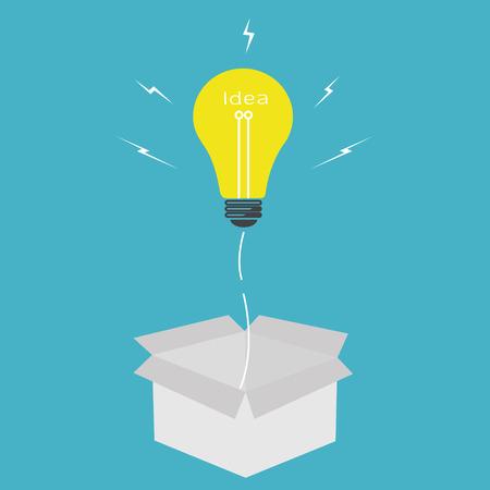 Vector light bulb idea,think outside the box concept Illustration
