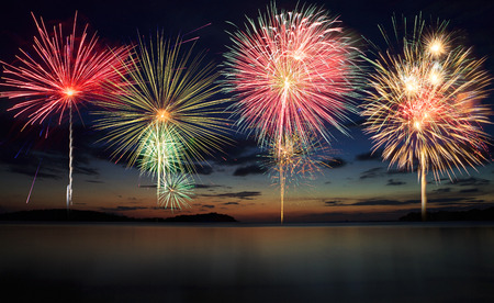 Firework at the beach photo