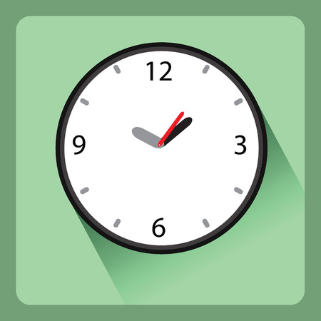 Modern clock flat icon with shadow effect,vector design Vector