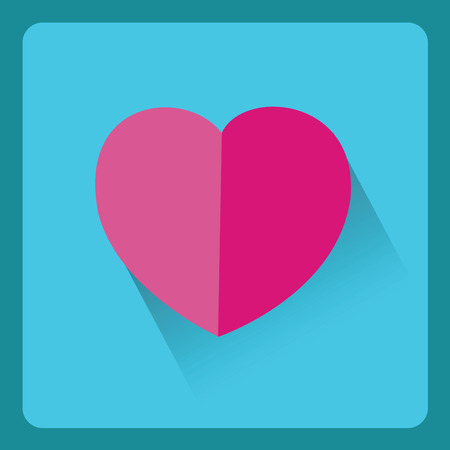 heart tone: Icono de color de rosa del coraz�n de papel moderno con efecto de sombra, dise�o del vector