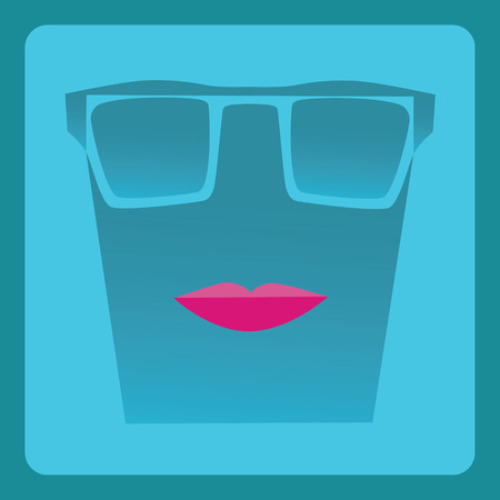 Modern sexy pink lipstick and sun glasses flat icon with shadow effect,vector design Vector