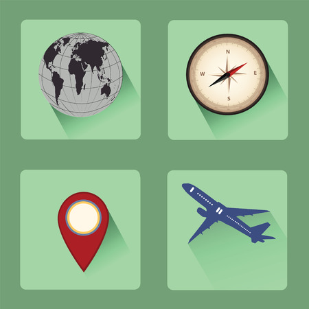 Modern travel flat icon set with shadow effect,vector desidn Vector