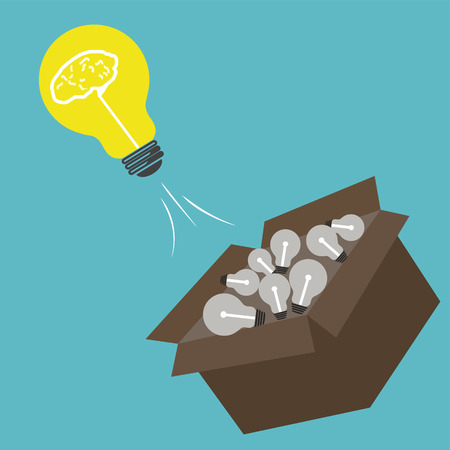 outside box: Light bulb think outside box concept,vector design