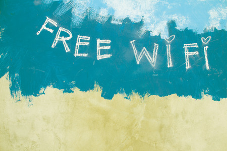 Free wifi sign on grunge vintage green background photo
