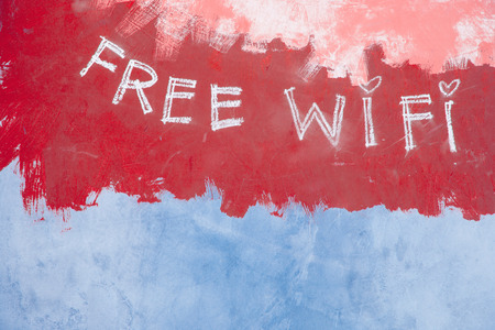 Free wifi sign on grunge retro red background Stock Photo - 27854992