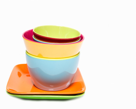 Melamine colorful  set of bowl cup and dish on white background Stock Photo