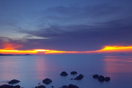 Panoramic dramatic pastel sunset sky and tropical sea image photo