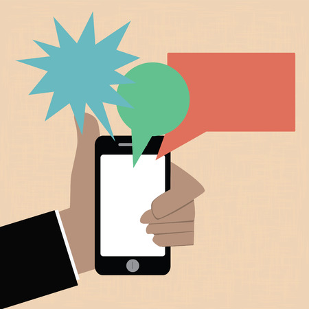 holding smart phone: Business hand holding smart phone with bubble talk Illustration