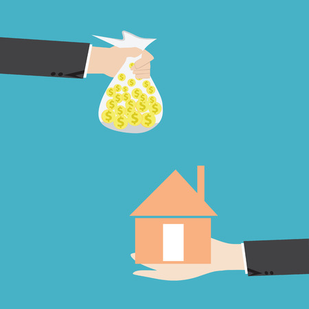 investment concept: Businessman hands buying house,real estate investment concept  Illustration