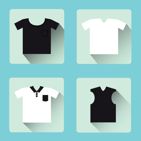 Set of flat t-shirts collection icon Vector