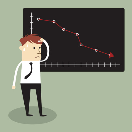 worried man: Business man standing and looking  statistic arrow dawn. Business crisis concept