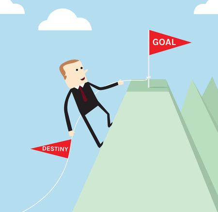 Business life of goal achievement, destiny and goal coceptual Illustration
