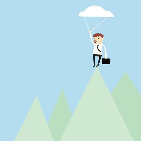 Success business man reach over top of mountain,vector design Vector
