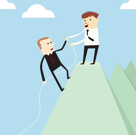 help each other: Vector teamwork concept,businessman hold ones hands to help each other on mountain