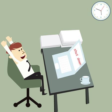 turn table: Businessman shut down laptop to finish work,vector design Illustration