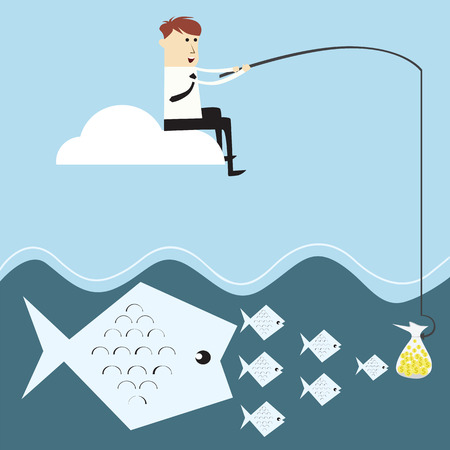 Vector business cycle investment,businessman fishing money on cloud Vector