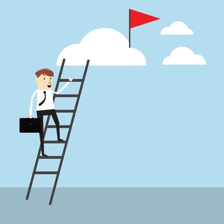 Successful,vector businessman rising up to goal Illustration