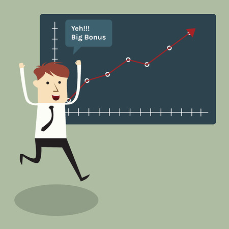 noun: Businessman happy with graph increase to get bonus