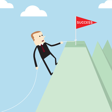 Business life of success achievement coceptual,Man climbing to the goal on mountain Vector