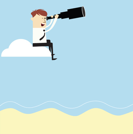 Vision,smart  business man using binoculars,vector cartoon Stock Vector - 28459521