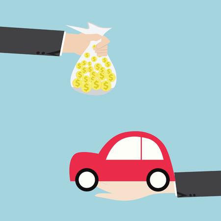 Businessman hands buying car,Automotive Industry concept,vector flat design photo