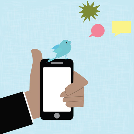 Social medai concept,vector hand and smartphone with blue bird photo