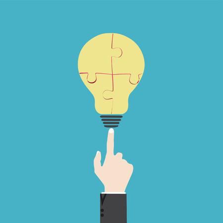 fingertip: Hand point puzzel lightbulb in process
