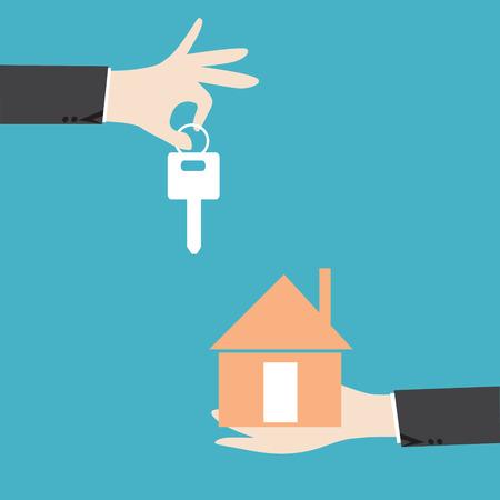 vendedores: Manos de negocios que da clave para la casa, el concepto de éxito de la inversión