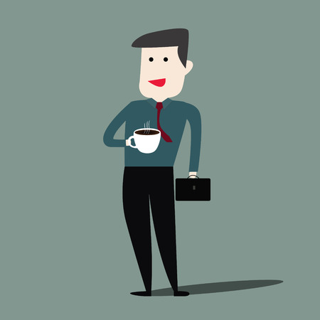 morning walk: Happy businessman drinking morning coffee cup befor work