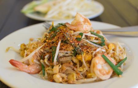 Pad thai- stir-fried  noodles . Thailands national dishes photo