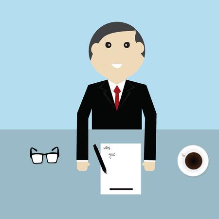 okey: Businessman sign contract on desk,vector Illustration